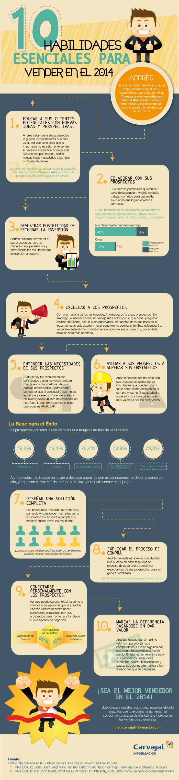 10 habilidades esenciales para vender #infografia #infographic #marketing vía: @PublicarComunid