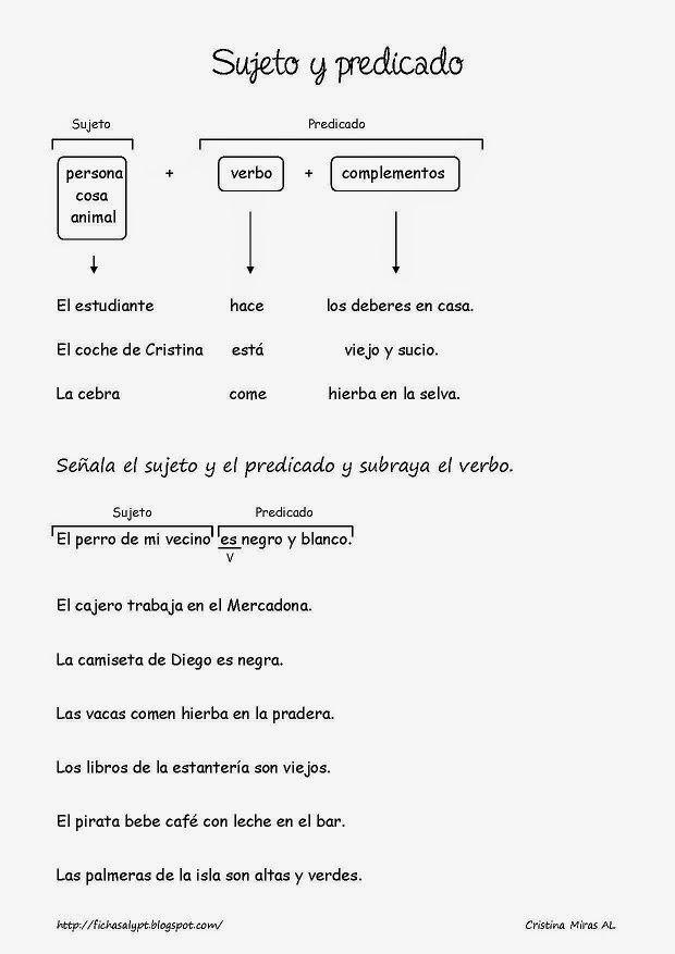 Cositas de AL y PT.  Explicación sencilla sobre Sujeto y Predicado. Con ejemplos y ejercicio práctico.