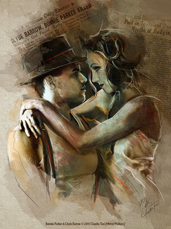 Bonnie & Clyde © by Mirror Walkers - Tribute to Bonnie and Clyde Musical - Digital drawing and painting - www.mirrorwalkers.it- More of this stylistically