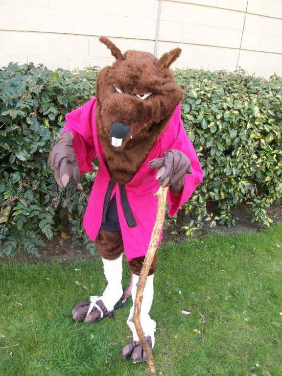 splinter costume- brown slip, tall white socks, white shoes ?, cane, trim for robe tie, mouse ears