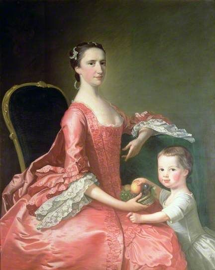 """Mrs Bowles, Wife of Canon Bowles, and Her Child"", Thomas Hudson, ca. 1755; Cheltenham Art Gallery & Museum 1956.96"