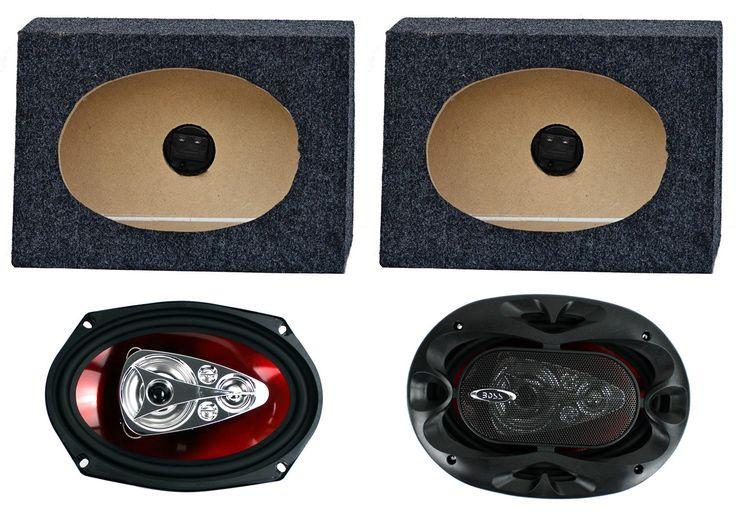 """2) Boss CH6950 6x9"""" 5-Way 600W Car Speakers + 2) QTW6X9 Angled 6x9"""" Speaker Box. 600 Watts Total Peak Power Handling (300 Watt Each). 300 RMS Power Handling (150 Watt Each). Size: 6"""" x 9"""" in. Frequency Response45 Hz to 20 Hz. SPL (1 Watt / 1 Meter): 93 dB."""