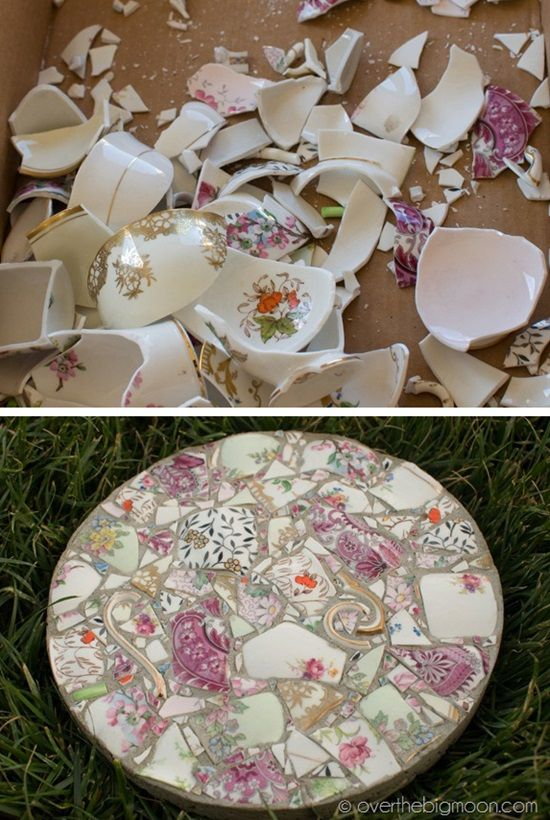 Garden Stones From Broken Dishes