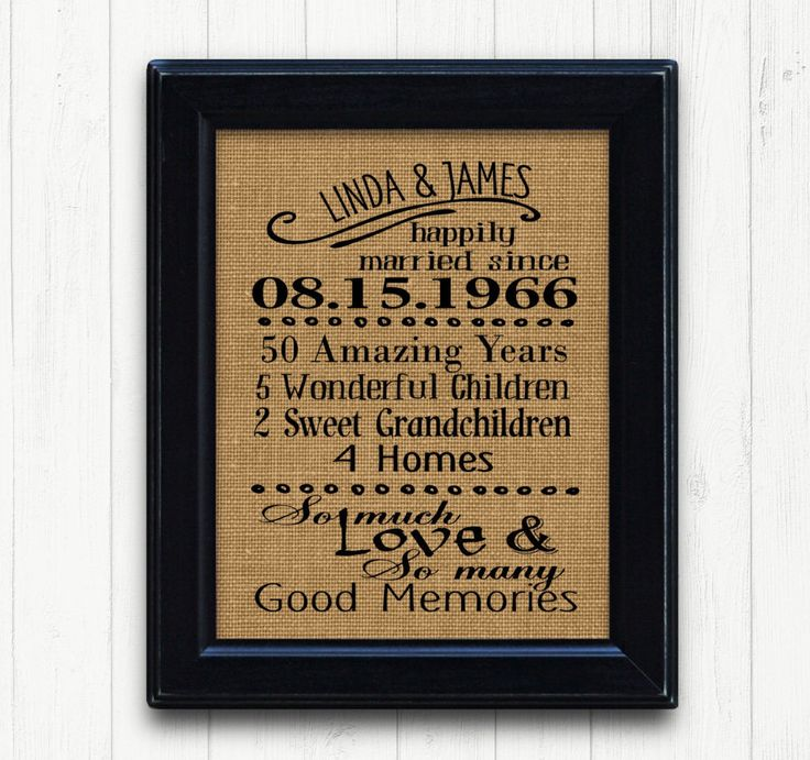 Unusual 50th Wedding Anniversary Gifts: 11 Best Anniversary Burlap Prints Images On Pinterest