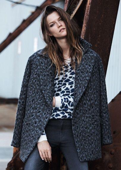 Manteau oversize laine léopard