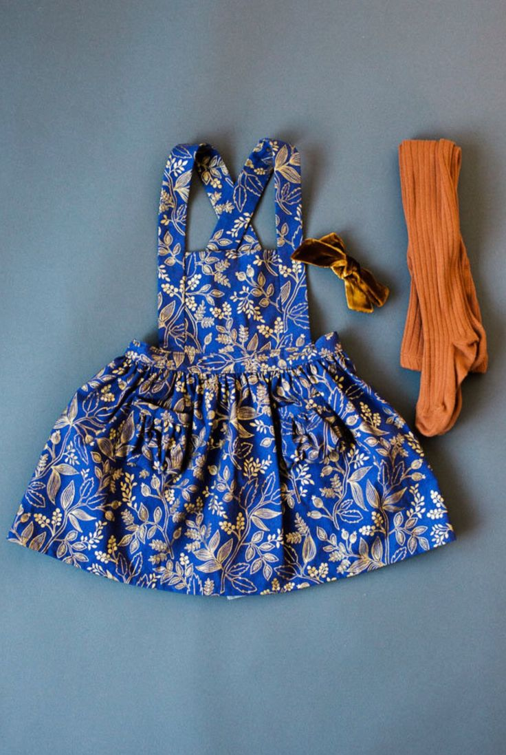 Handmade Rifle Paper Co. Blue & Gold Pinafore Dress   blytheandreese on Etsy