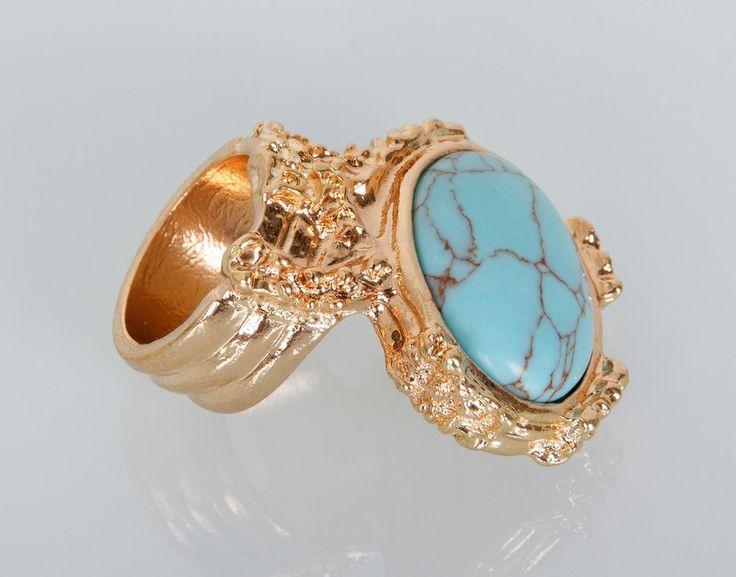 Кольцо YSL с бирюзовым камнем, золотой цвет металла #18883