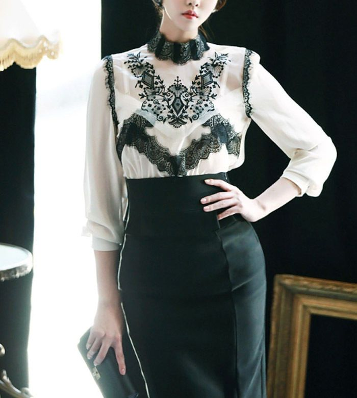 Women High Neck Light Beige Formal Chiffon Lace Blouse with Long Sleeve Lace Top #nobrand #Blouse #Career