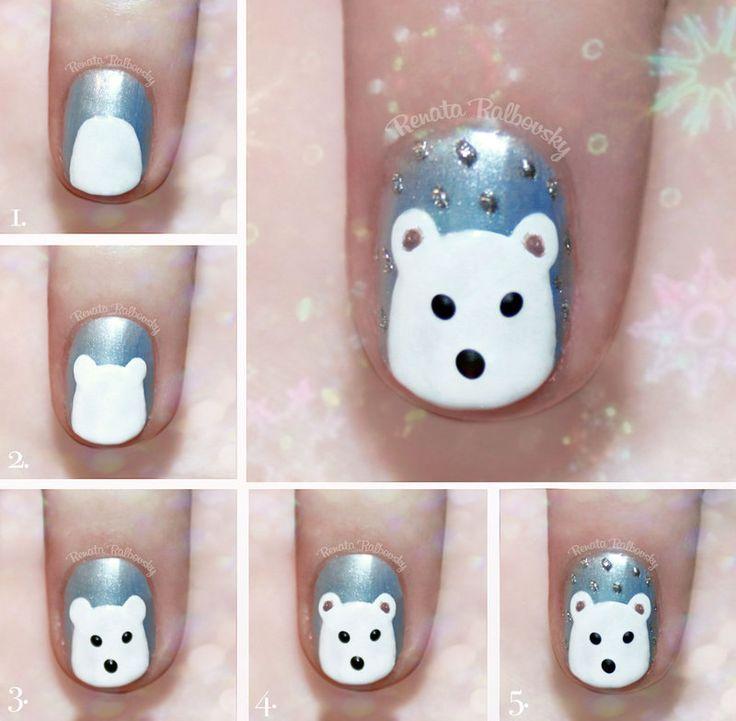 Cute Polar Bear Nail Art Tutorial by psychoren on DeviantArt