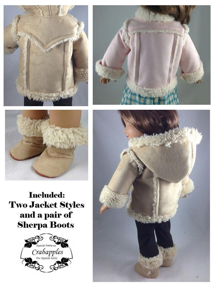 """Chilly Day Sherpa Coat And Boots 18"""" Doll Clothes Pattern"""