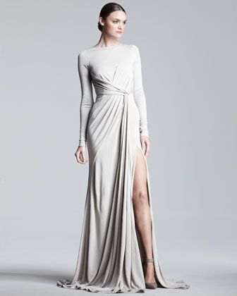 Sexy & Sophisticated done to the T! Long-Sleeve Jersey Gown by @ElieSaabWorld at @Bergdorfs www.ChristinaStyles.com