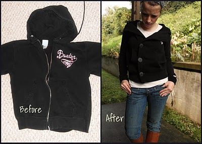 tutorial to turn an old hoodie into a cute pea coat style sweatshirt!  so genius!