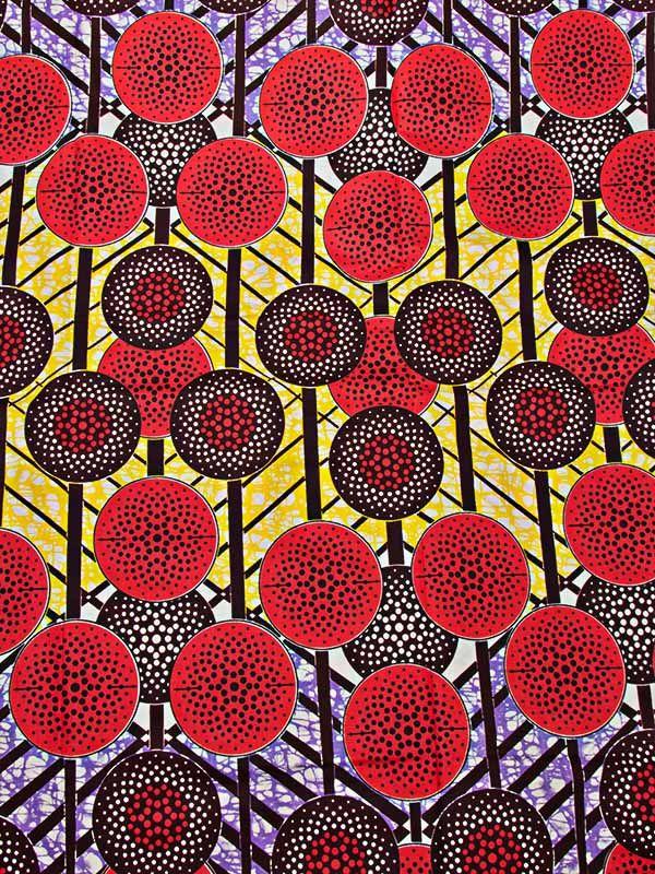 Véritable wax africain d'impression motif rose sur ligne croisé coloré rw00101_1