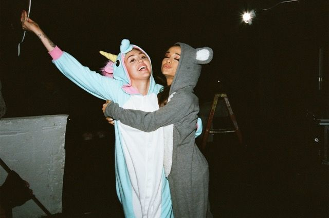 Miley Cyrus and Ariana Grande Wear Unicorn and Mouse Onesies While Duetting...You Know, Normal  - MarieClaire.com
