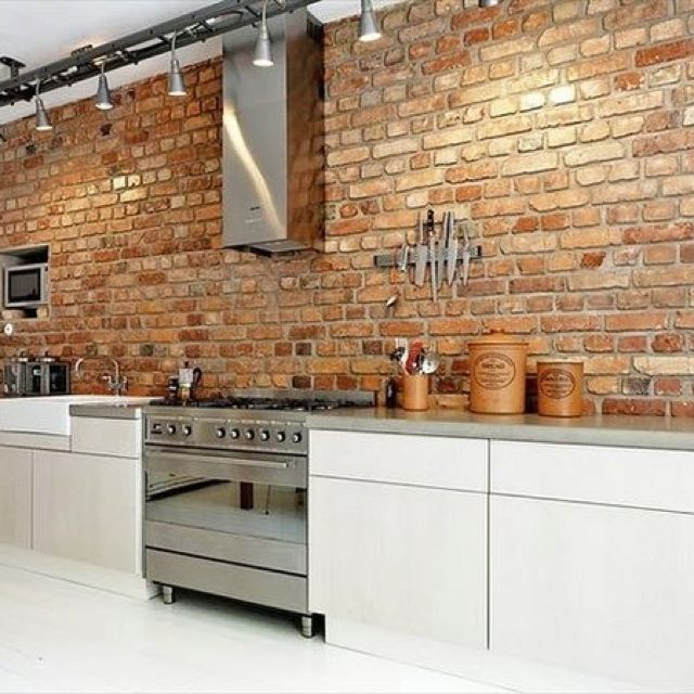 Best 10 kitchen brick ideas on pinterest exposed brick for White exposed brick wall
