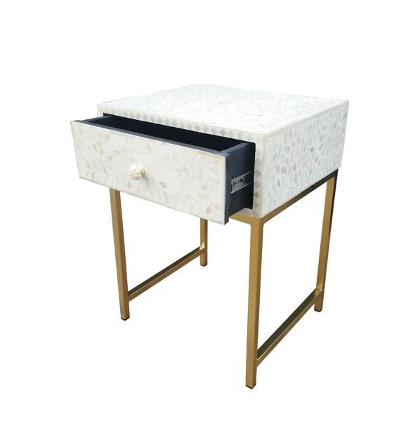 Abacus /& Hunt Bone Inlay Bedside Table Pre Order Only Sold out