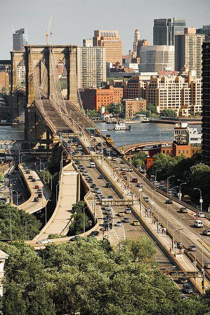 Brooklyn Bridge, New York City, New York - facing Manhattan