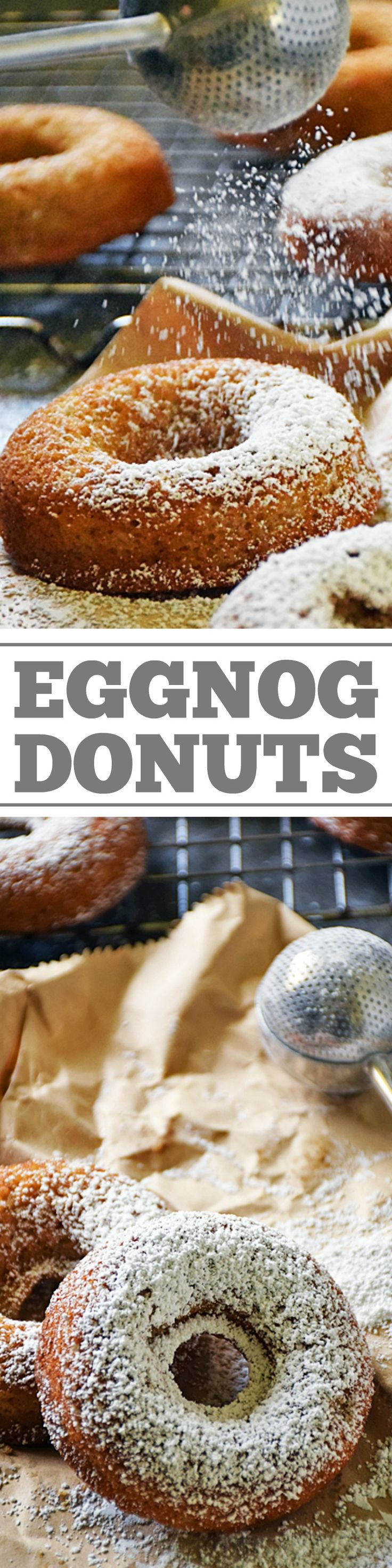 Celebrate the season with freshly Baked Eggnog Donuts! Rich, creamy, sweet eggnog is baked right into these donuts making them the perfect breakfast treat for Christmas morning and to serve at parties this holiday season. Perfect for breakfast, brunch, and even for a party appetizer! An easy recipe everyone wil love! #LTGrecipes
