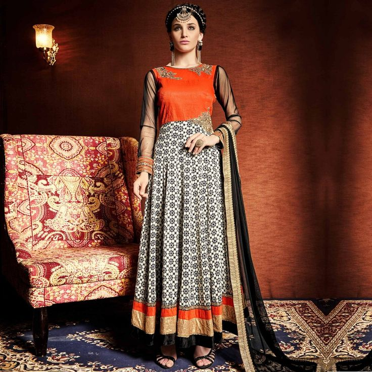 Buy Orange Anarkali Suit - Latest Anarkali Suits Online Shopping at Peachmode