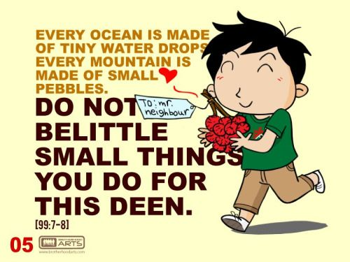 """Every ocean is made of tiny water drops; every mountain is made of small pebbles. Do not belittle small things you do for this deen."""