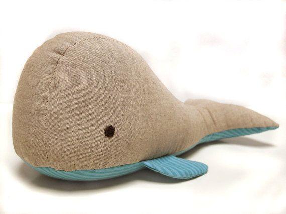 Organic fair trade whale - turquoise stripe : organic stuffed animal, organic toy, baby shower, nautical gift, organic baby, toy, plush on Etsy, €27,60