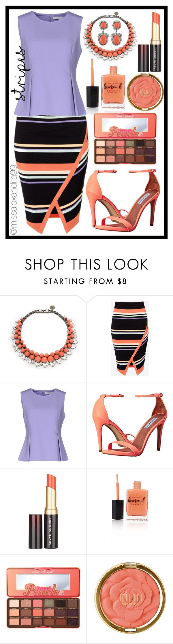 """""""Striped Lavender and Peach Peplum Outfit"""" by missalexandria99 ❤ liked on Polyvore featuring Ellen Conde, Ted Baker, Diane Von Furstenberg, Steve Madden, Kevyn Aucoin, Lauren B. Beauty, Too Faced Cosmetics, Milani, Kenneth Jay Lane and peach"""