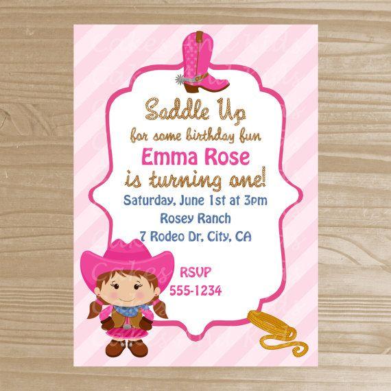 Little Cowgirl Printable Invitation - Cowgirl Birthday Invitation - Digital File