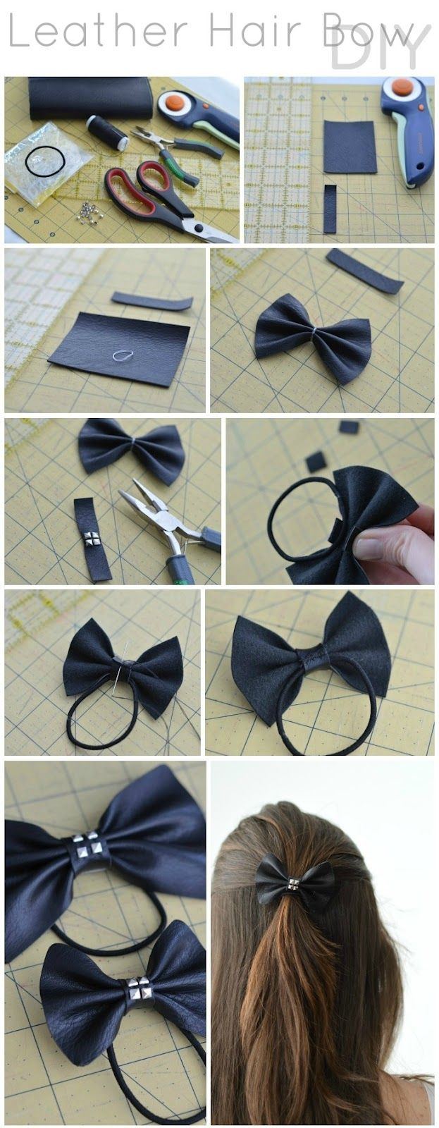 LEATHER HAIR BOW DIY - 23 BEAUTIFUL DIY HAIR ACCESSORIES
