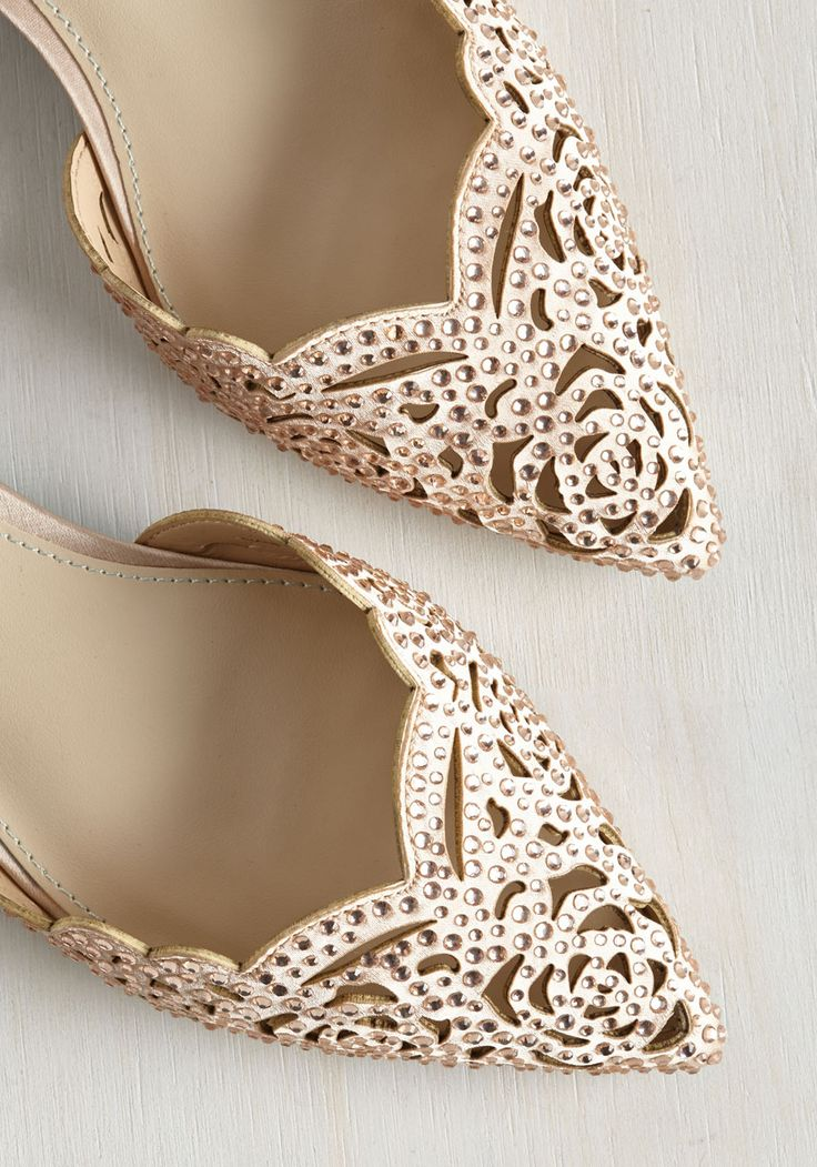 Divine Dining Flat in Champagne. Sashaying to your seat in these opulent flats from Blue by Betsey Johnson, your luxe look gives this fine dining experience extra stars.  #modcloth