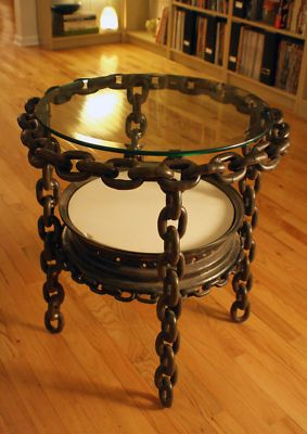 STEAMPUNK TABLE Industrial Vintage Harley Davidson Rim Chain Glass Top handmade