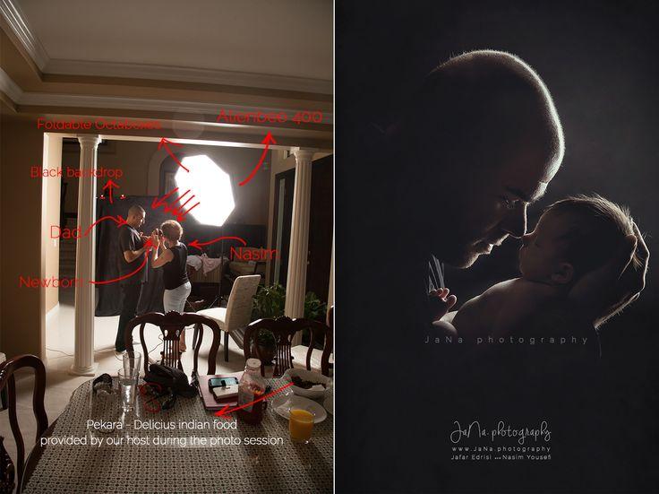 Vancouver newborn photography - Rim light with dad. #newborn #photography #janaphotography