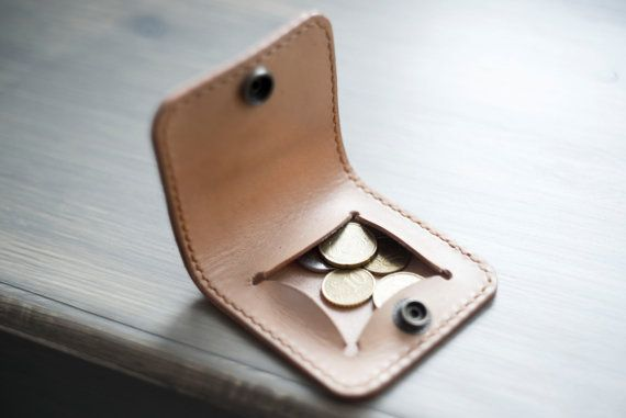 Coin Purse Leather Coin Purse Vegetable Tooned by PodkovaShop