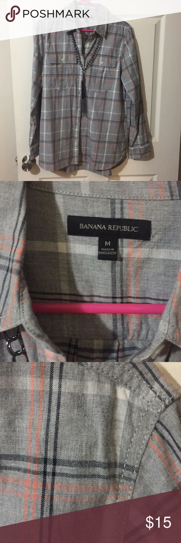 Banana Republic Plaid Button Down Shirt Gray with coral and black plaid. Size Med. 100% cotton. Worn one time. Banana Republic Tops Button Down Shirts