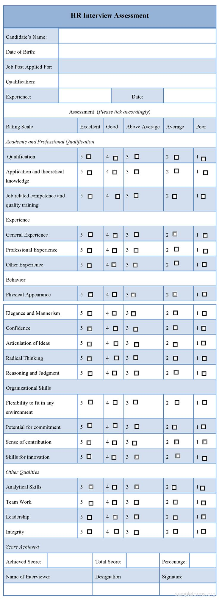Best Forms Images On   Hr Interview Assessment And