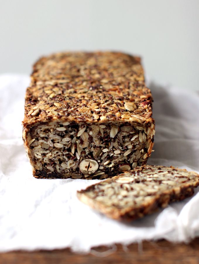 Life-changing bread Ingredients:  1 cup / 135g sunflower seeds  ½ cup / 90g flax seeds  ½ cup / 65g hazelnuts or almonds  1 ½ cups / 145g rolled oats  2 Tbsp. chia seeds  4 Tbsp. psyllium seed husks (3 Tbsp. if using psyllium husk powder)  1 tsp. fine grain sea salt (add ½ tsp. if using coarse salt)  1 Tbsp. maple syrup (for sugar-free diets, use a pinch of stevia)  3 Tbsp. melted coconut oil or ghee  1 ½ cups / 350ml water