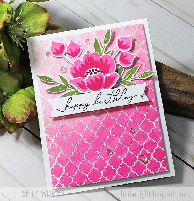 Cover Up: Quatrefoil background stamp, Gran's Garden: PTI, flower sketch, Crafting with Betty: