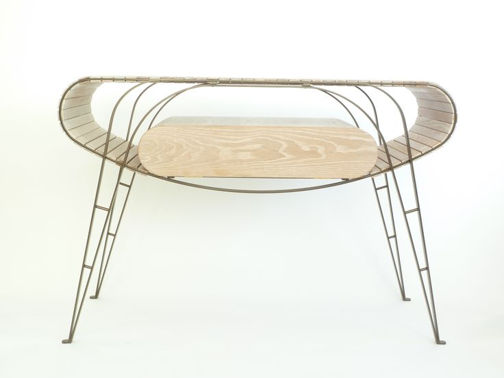 Oak and steel Television Table