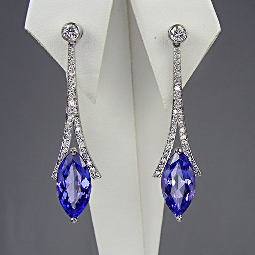 Tanzanite and diamond drop earrings in platinum