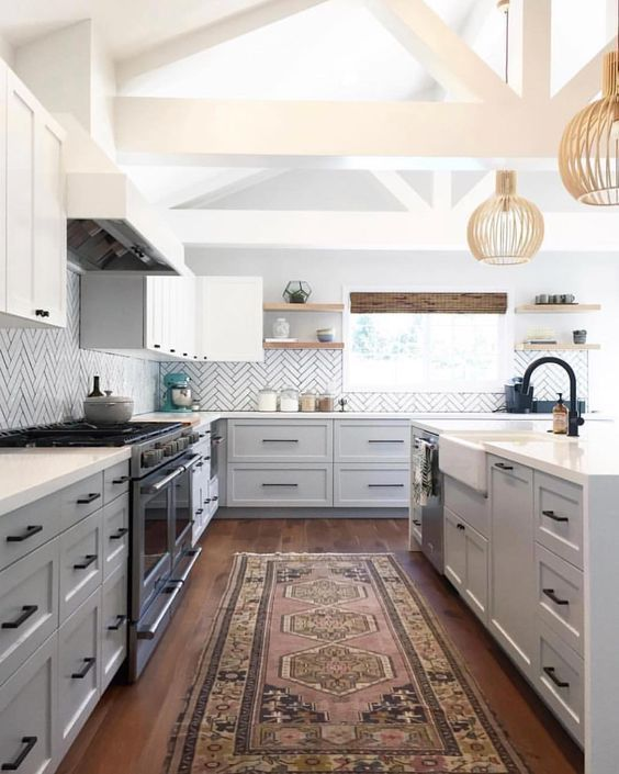 Top Pins of the Week - Two-toned kitchen cabinets with vintage rug — Helmick Hacienda
