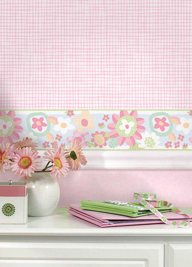 Empapelado - Flores y cuadrillé - Papel de parede