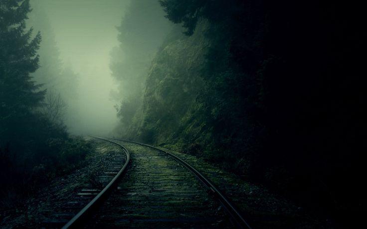 어둠 철도 숲 산 안개
