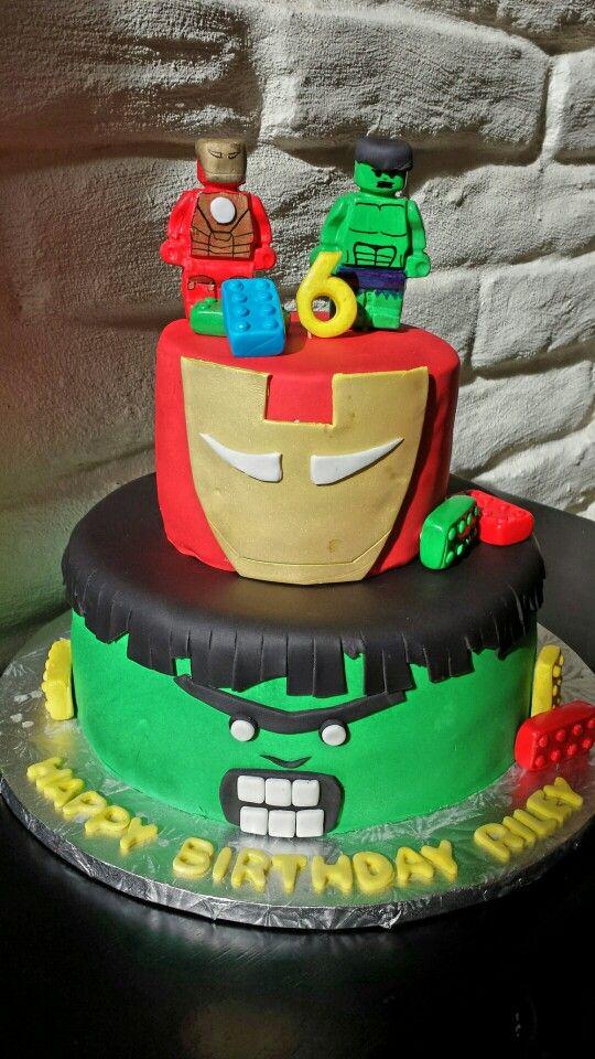 Legos superhero cake with Iron Man and The Hulk