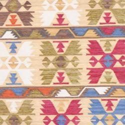 Indo Hand-knotted Kilim Ivory and Green Wool Rug (4 x 6)