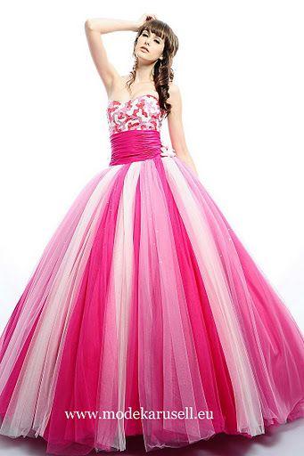 Braut Mode Ballkleid 2013 Abendkleid in Pink - Weiß - Kleider Online Bestellen