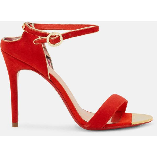 Cut-out back suede heeled sandals ($125) ❤ liked on Polyvore featuring shoes, sandals, bright orange, high heeled footwear, high heel shoes, metallic sandals, orange sandals and orange heeled sandals