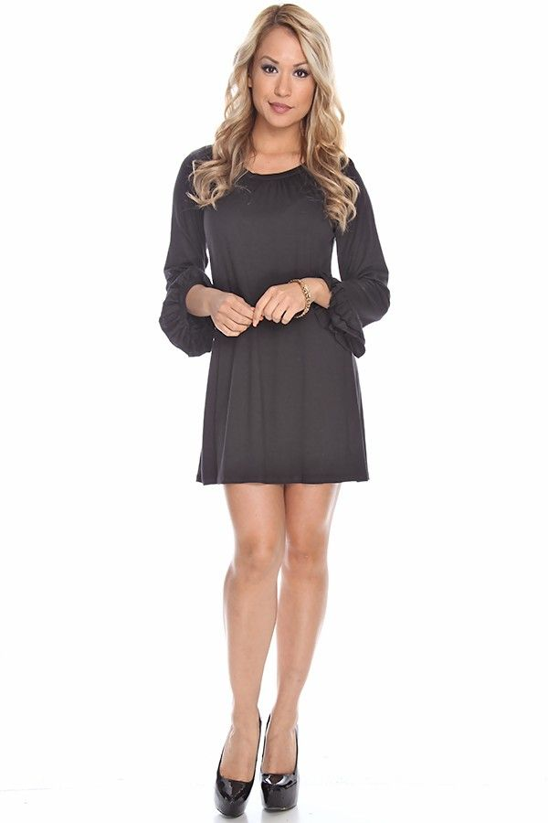 black dress#knit dress#long sleeve dress#tunic dress#cute casual ...