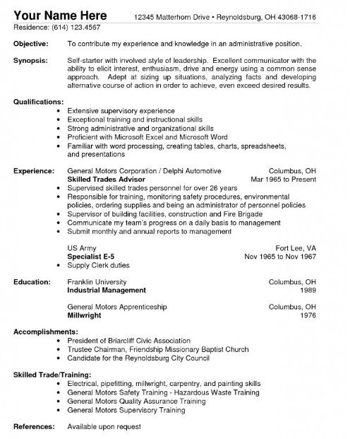 461 best Job Resume Samples images on Pinterest Job resume - resume for construction worker