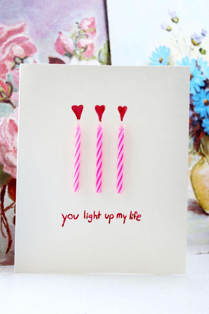 Alla hjärtans dag. Kort med ljus. Valentine card.
