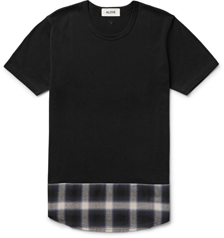 Aloye Panelled Checked Cotton-Jersey T-Shirt