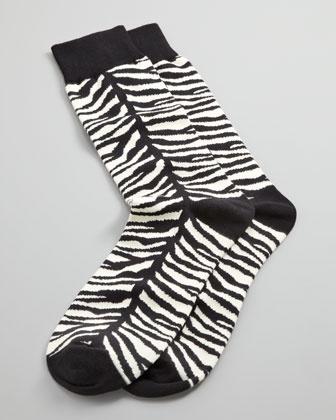 Zebra-Print Men\'s Socks, Black by Arthur George by Robert Kardashian at Neiman Marcus.